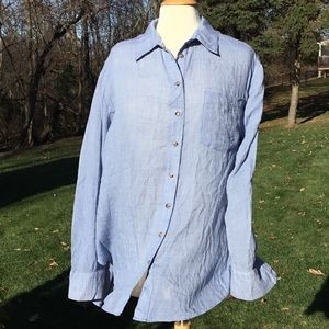 Free People Oversized Boyfriend Button Down Shirt